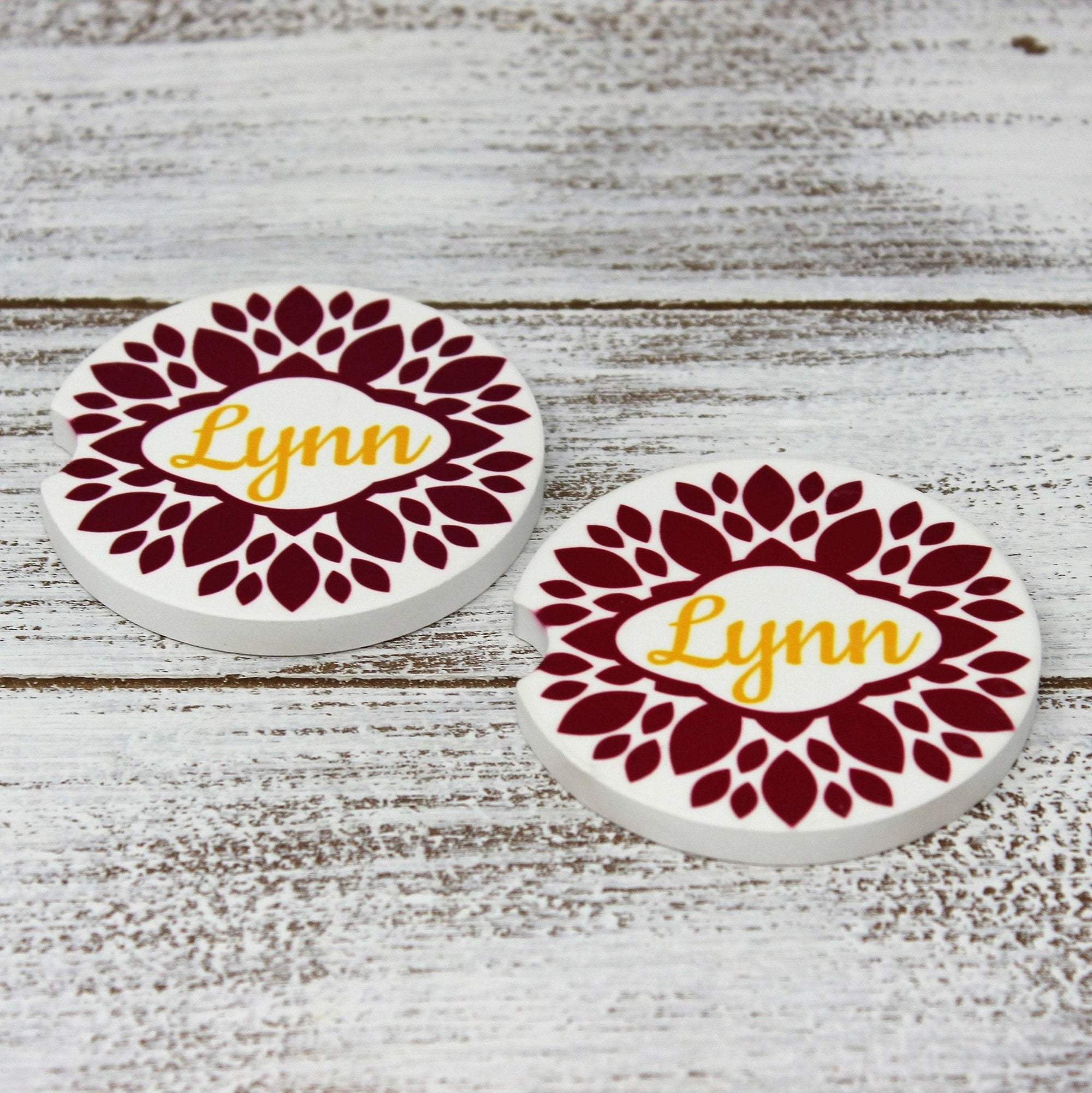 Car Accessories | Personalized Car Coasters | Custom Car Accessories | Zinnia | Set of 2 | This and That Solutions | Personalized Gifts | Custom Home Décor