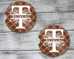 Car Accessories | Personalized Car Coasters | Custom Car Accessories | Brown Argyle | Set of 2 | This and That Solutions | Personalized Gifts | Custom Home Décor