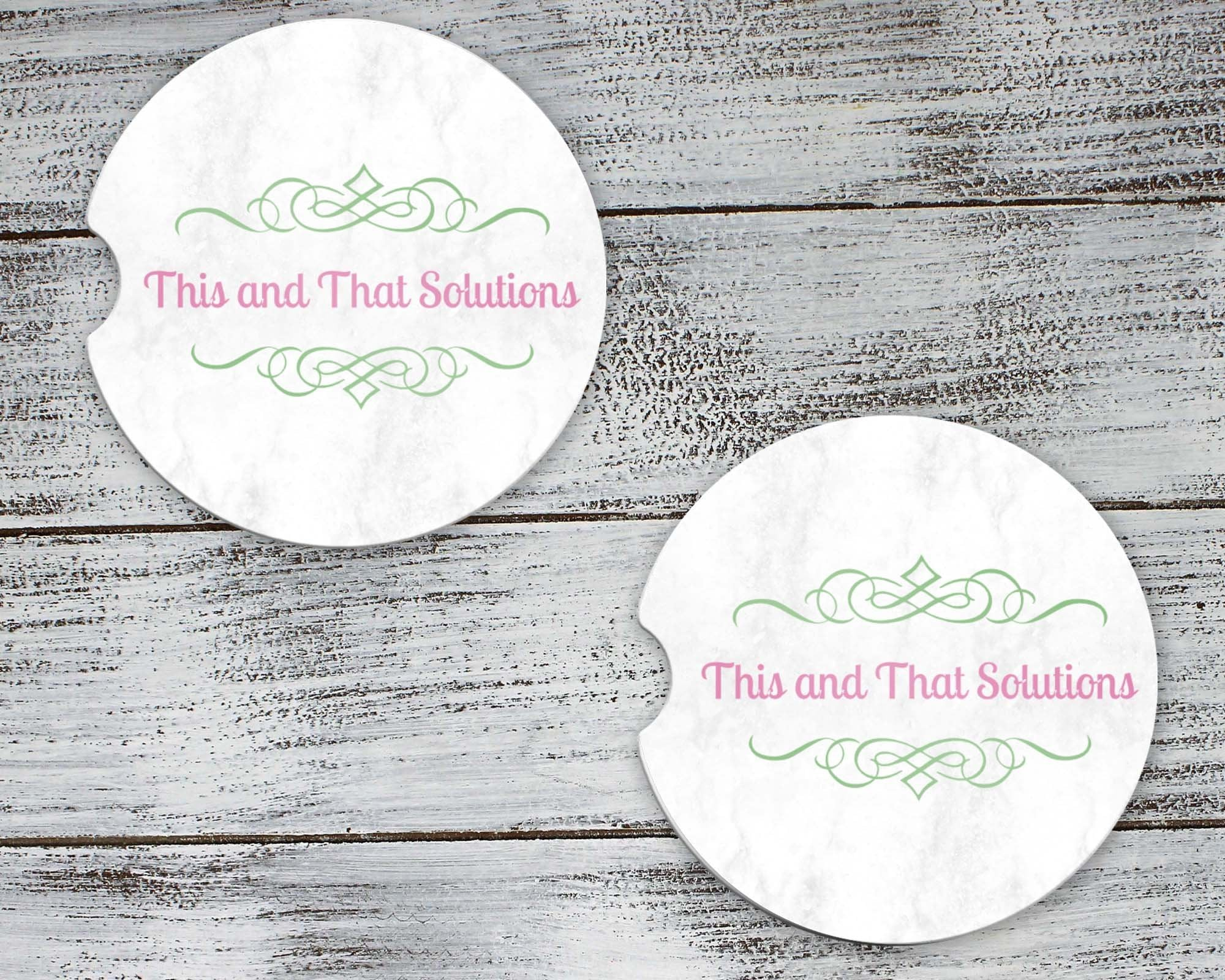 Car Accessories | Personalized Car Coasters | Custom Car Accessories | Company Logo | Set of 2 | This and That Solutions | Personalized Gifts | Custom Home Décor