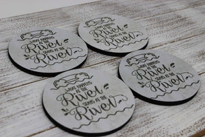 Coasters - Personalized Coasters | Custom Stone Coaster Set | At the River | Set of 4 - This & That Solutions