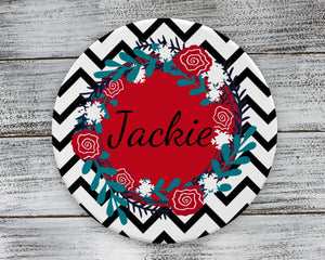 Coasters - Personalized Coasters | Custom Stone Coaster Set | Black Chevron | Set of 4 - This & That Solutions