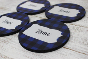 Coasters - Personalized Coasters | Custom Stone Coaster Set | Blue and Black | Set of 4 - This & That Solutions