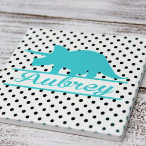 Coasters - Personalized Coasters | Custom Stone Coaster Set | Blue Dinosaur | Set of 4 - This & That Solutions