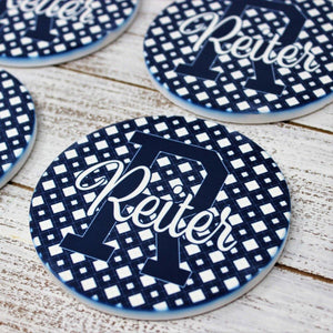 Coasters - Personalized Coasters | Custom Stone Coaster Set | Blue Polka Dot | Set of 4 - This & That Solutions