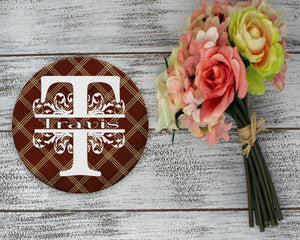 Coasters - Personalized Coasters | Custom Stone Coaster Set | Brown Argyle | Set of 4 - This & That Solutions