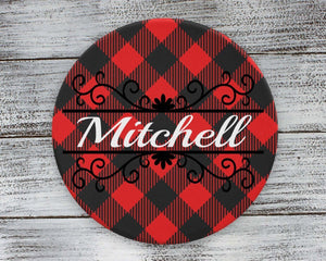 Coasters | Personalized Coasters | Custom Stone Coaster Set | Buffalo Plaid Vine | Set of 4 | This and That Solutions | Personalized Gifts | Custom Home Décor