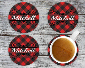 Coasters - Personalized Coasters | Custom Stone Coaster Set | Buffalo Plaid Vine | Set of 4 - This & That Solutions