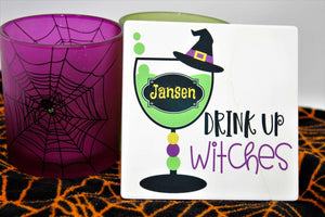 Coasters | Personalized Coasters | Custom Stone Coaster Set | Drink Up Witches | Set of 4 | This and That Solutions | Personalized Gifts | Custom Home Décor
