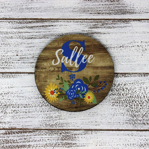 Coasters | Personalized Coasters | Custom Stone Coaster Set | Faux Wood Floral 2 | Set of 4 | This and That Solutions | Personalized Gifts | Custom Home Décor