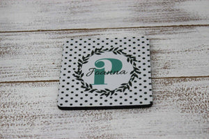 Coasters - Personalized Coasters | Custom Stone Coaster Set | Polka Dot Wreath | Set of 4 - This & That Solutions