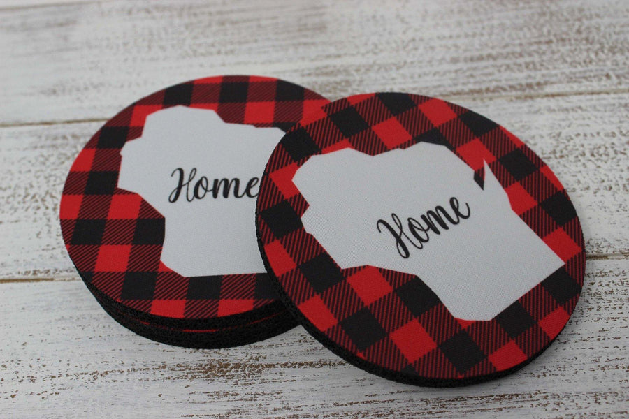 Coasters - Personalized Coasters | Custom Stone Coaster Set | Red and Black Plaid | Set of 4 - This & That Solutions