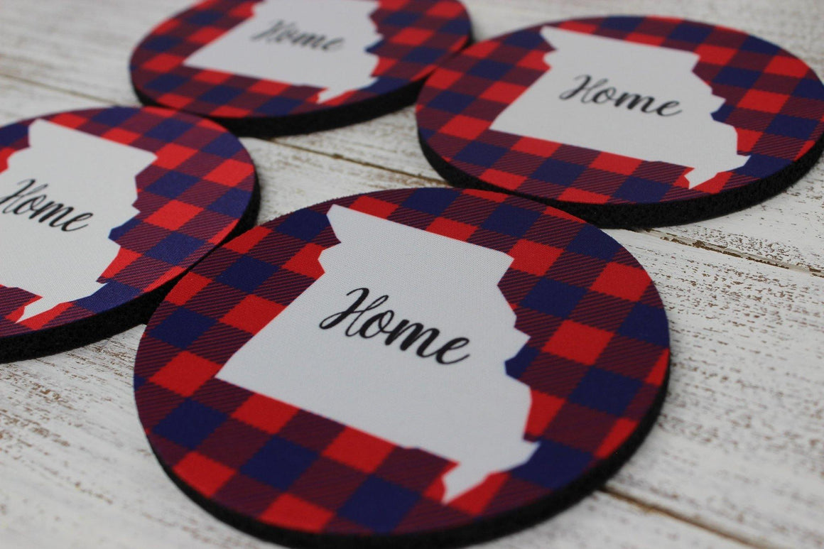 Coasters - Personalized Coasters | Custom Stone Coaster Set | Red and Blue Plaid | Set of 4 - This & That Solutions