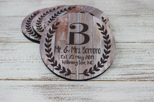 Coasters - Personalized Coasters | Custom Stone Coaster Set | Rustic Laurel Wreath | Set of 4 - This & That Solutions