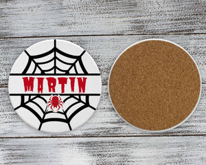 Coasters | Personalized Coasters | Custom Stone Coaster Set | Spider Red | Set of 4 | This and That Solutions | Personalized Gifts | Custom Home Décor