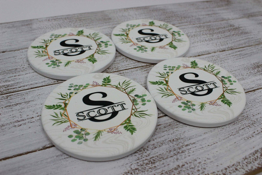 Coasters - Personalized Coasters | Custom Stone Coaster Set | Spring Wreath | Set of 4 - This & That Solutions