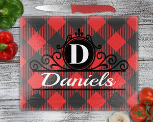 Cutting Boards - Personalized Cutting Board | Custom Glass Cutting Board | Rectangle | Buffalo Plaid - This & That Solutions