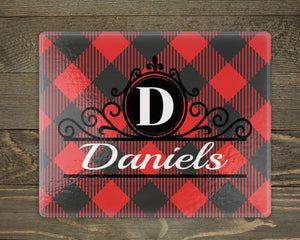 Cutting Boards | Personalized Cutting Board | Custom Glass Cutting Board | Rectangle | Buffalo Plaid | This and That Solutions | Personalized Gifts | Custom Home Décor