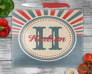 Cutting Boards | Personalized Cutting Board | Custom Glass Cutting Board | Rectangle | Sunburst Retro Americana | This and That Solutions | Personalized Gifts | Custom Home Décor