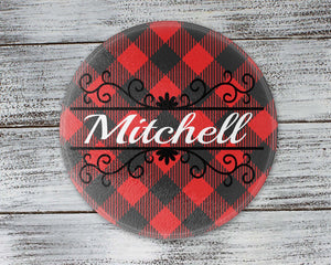 Cutting Boards - Personalized Cutting Board | Custom Glass Cutting Board | Round | Buffalo Plaid Vine - This & That Solutions