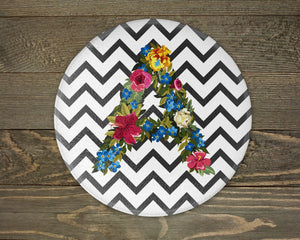 Cutting Boards - Personalized Cutting Board | Custom Glass Cutting Board | Round | Floral Monogram - This & That Solutions