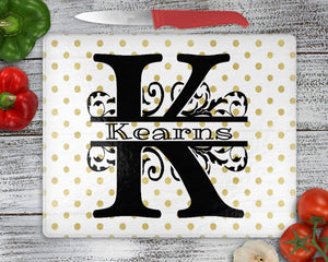Cutting Boards - Personalized Cutting Board | Custom Glass Cutting Board | Round | Gold Polka Dot - This & That Solutions