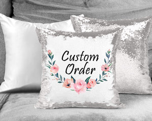 Decorative Pillows - Personalized Sequin Throw Pillow | Custom Sequin Pillow | Custom Order - This & That Solutions