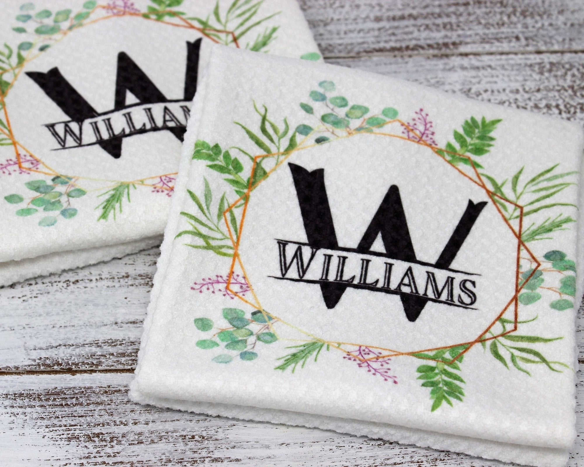 Dishcloths & Kitchen Towels | Personalized Hand Towel Waffle Textured | Custom Kitchen Gifts | Spring Wreath | This and That Solutions | Personalized Gifts | Custom Home Décor