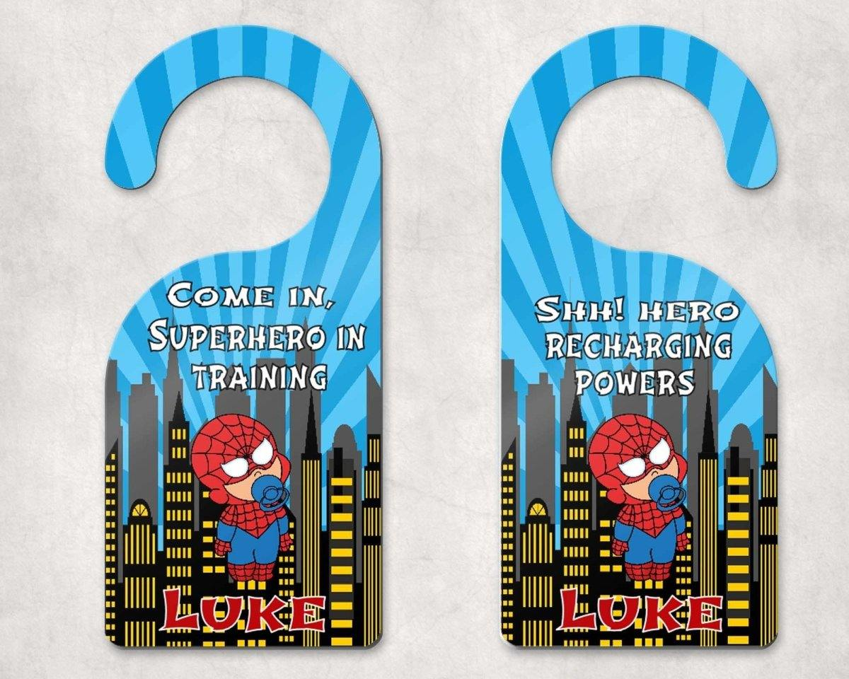 Door Hangers - Customized Door Hanger | Personalized Bedroom Sign | Custom Design | Baby Spidey - This & That Solutions