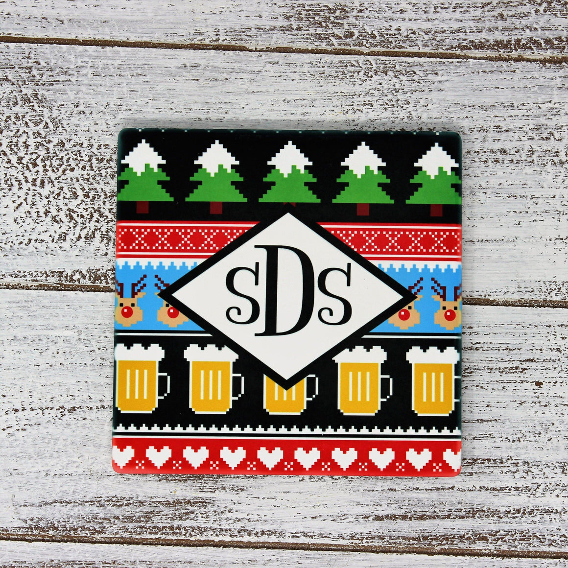 Personalized Stone Coaster | Ugly Sweater Beer | Drink Coaster Set | Monogram coasters | Sandstone Coaster Set - This & That Solutions