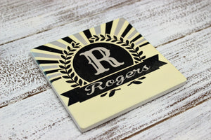 Coasters | Personalized Coasters | Custom Stone Coaster Set | Sunburst Retro | Set of 4 | This and That Solutions | Personalized Gifts | Custom Home Décor