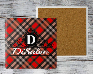 Coasters | Personalized Coasters | Custom Stone Coaster Set | Red and Black Plaid | Set of 4 | This and That Solutions | Personalized Gifts | Custom Home Décor
