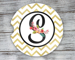 Car Accessories | Personalized Car Coasters | Custom Car Accessories | Gold Chevron | Set of 2 | This and That Solutions | Personalized Gifts | Custom Home Décor