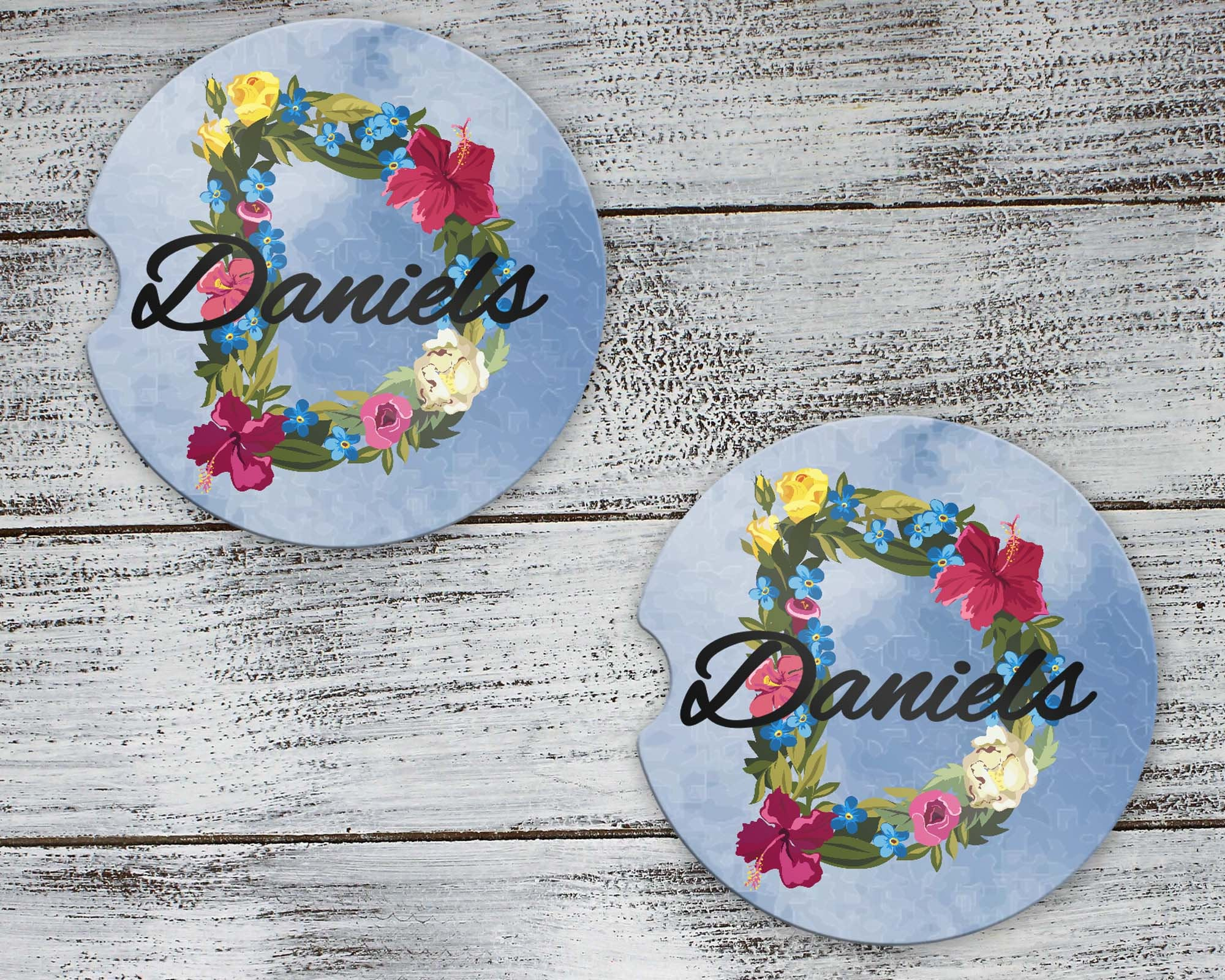 Car Accessories | Personalized Car Coasters | Custom Car Accessories | Floral Wreath | Set of 2 | This and That Solutions | Personalized Gifts | Custom Home Décor