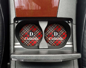 Car Accessories | Personalized Car Coasters | Custom Car Accessories | Red and Black Plaid | Set of 2 | This and That Solutions | Personalized Gifts | Custom Home Décor