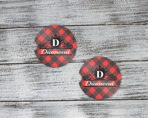 Car Accessories | Personalized Car Coasters | Custom Car Accessories | Buffalo Plaid | Set of 2 | This and That Solutions | Personalized Gifts | Custom Home Décor