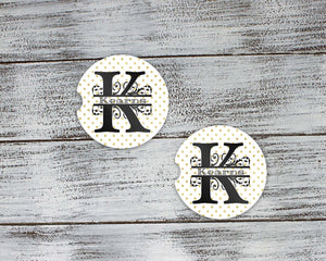 Car Accessories | Personalized Car Coasters | Custom Car Accessories | Gold Polka Dot | Set of 2 | This and That Solutions | Personalized Gifts | Custom Home Décor