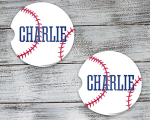 Car Accessories | Personalized Car Coasters | Custom Car Accessories | Baseball | Set of 2 | This and That Solutions | Personalized Gifts | Custom Home Décor