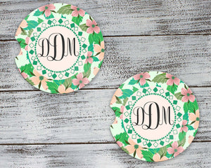 Car Accessories | Personalized Car Coasters | Custom Car Accessories | Floral Mint | Set of 2 | This and That Solutions | Personalized Gifts | Custom Home Décor