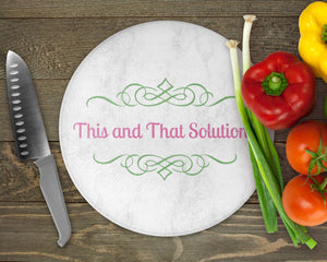Cutting Boards | Personalized Cutting Board | Custom Glass Cutting Board | Round | Company Logo | This and That Solutions | Personalized Gifts | Custom Home Décor