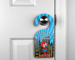 Customized Door Hanger |  Personalized Bedroom Sign | Custom Design | Baby Spidey - This & That Solutions
