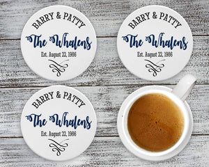 Personalized Coasters | Custom Stone Coaster Set | Anniversary | Set of 4 - This & That Solutions