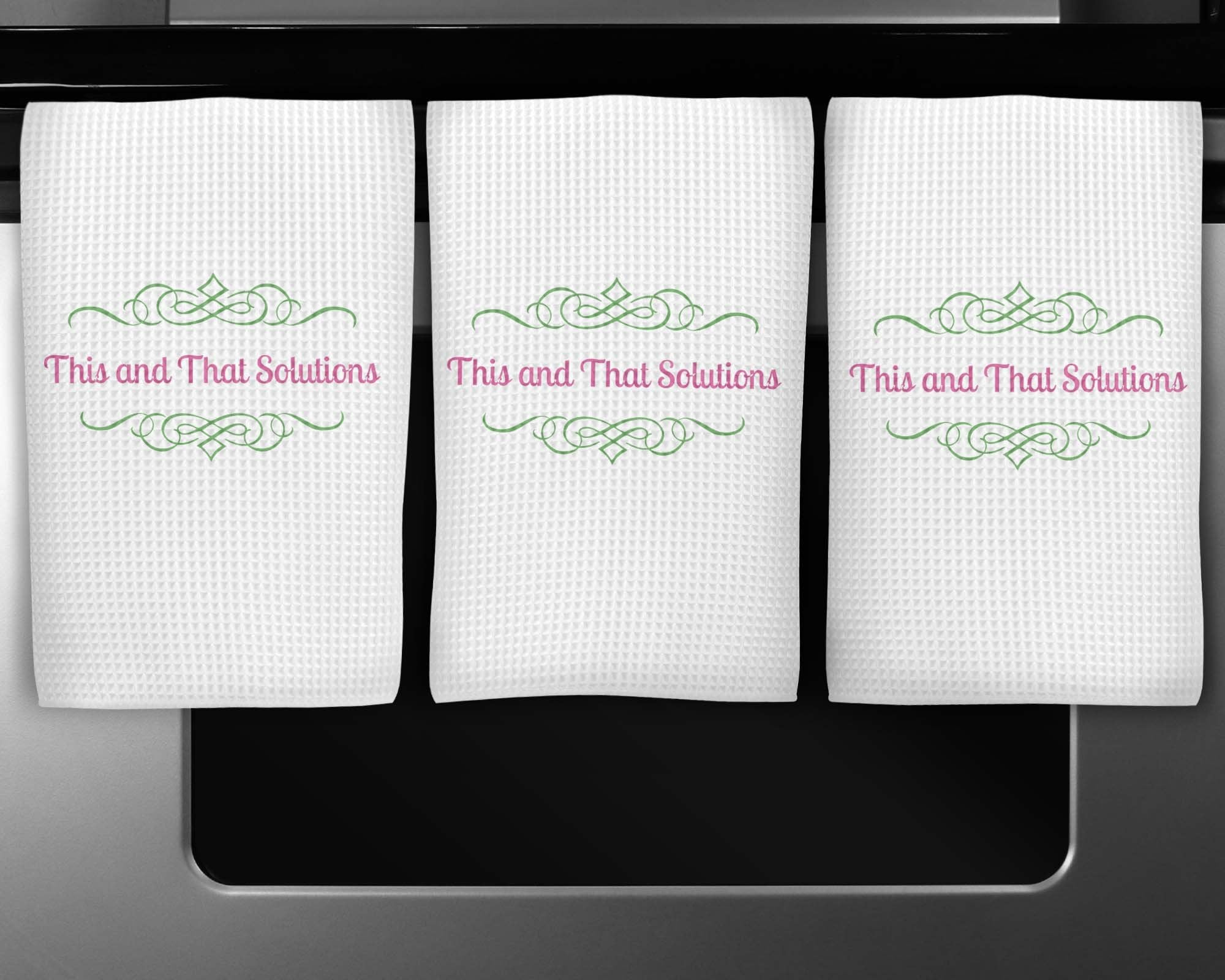 Dishcloths & Kitchen Towels | Personalized Hand Towel Waffle Textured | Custom Kitchen Gifts | Company Logo | This and That Solutions | Personalized Gifts | Custom Home Décor