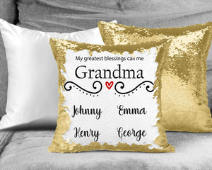 Decorative Pillows | Personalized Sequin Throw Pillow | Custom Sequin Pillow | Grandma's Greatest Blessing | This and That Solutions | Personalized Gifts | Custom Home Décor