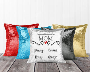 Decorative Pillows | Personalized Sequin Throw Pillow | Custom Sequin Pillow | Nana's Greatest Blessing | This and That Solutions | Personalized Gifts | Custom Home Décor