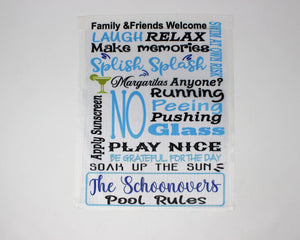 Yard Art | Personalized Garden Flag | Custom Yard Decorations | Pool Rules Blue | This and That Solutions | Personalized Gifts | Custom Home Décor