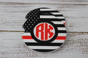 Car Accessories | Personalized Car Coasters | Custom Car Accessories | Red Line | Set of 2 | This and That Solutions | Personalized Gifts | Custom Home Décor