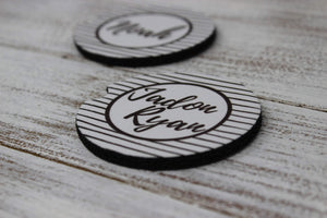 Car Accessories | Personalized Car Coasters | Custom Car Accessories | Black Stripes | Set of 2 | This and That Solutions | Personalized Gifts | Custom Home Décor