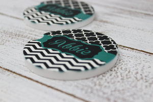 Car Accessories | Personalized Car Coasters | Custom Car Accessories | Teal Chevron | Set of 2 | This and That Solutions | Personalized Gifts | Custom Home Décor