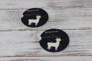 Car Accessories | Personalized Car Coasters | Custom Car Accessories | Space Llama | Set of 2 | This and That Solutions | Personalized Gifts | Custom Home Décor