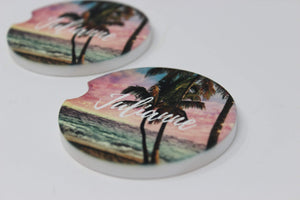 Car Accessories | Personalized Car Coasters | Custom Car Accessories | Sunset | Set of 2 | This and That Solutions | Personalized Gifts | Custom Home Décor